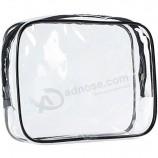 クリアキャリーオントラベルバッグ、エアラインクォートファッションバッグ、ジッパー付きPVCメイクアップバッグユニセックス用バッグ