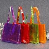 공장 도매 플라스틱 PVC 토트 백 컬러 토트 쇼핑 백 레이저 의류 선물 포장 백 인쇄
