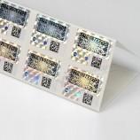 Qr 코드 및 일련 번호 인쇄 접착제 홀로그램 포일 스티커 라벨