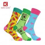красочные хлопковые носки фрукты милые животные платье нестандартный дизайн носки для экипажа
