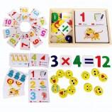 赤ちゃん教育木製カセット算術デジタル数字認識カードギフトジグソーおもちゃ