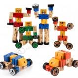 木製キッズクリエイティブ変換ロボット形状車のパズル教育玩具(GY-w0083)