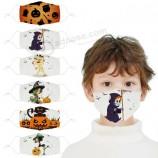 아이들을위한 할로윈 마스크 먼지와 안개를위한 면화 인쇄 된 만화 천 마스크는 학생들을위한 방풍 마스크로 씻을 수 있습니다.