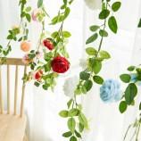 花輪ぶら下げプラスチックIVY花の結婚式の装飾つるは造花藤をバラ