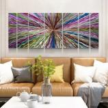 カラフルな3D抽象金属油絵現代内壁芸術装飾100%手作り
