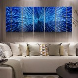 青の3D抽象金属油絵現代の内壁芸術の装飾100%手作り