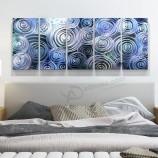 青い3D渦巻き抽象金属油絵インテリアモダンな壁アートの装飾100%手作り