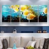 Тропическая рыба 3D металл ремесло картина маслом стены искусства украшения интерьера
