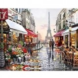 chenistoryパリ通りDIY絵画、フレーム付き手描きキャンバス絵画