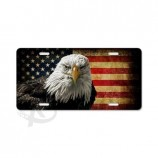 Custom high-end bald eagle and flag plastic license plate for sale