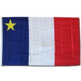 75D Polyester Blue White Red Stripes Yellow Star Acadia Flag Wholesale