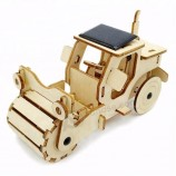 Solar Power Wooden 3D Road Roller Solar Toy Wholesale
